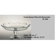 CH021 Footed Dessert Plate Waved Sides